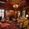 The design In The wood paneled library Has An Old world luxury feel To It